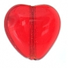 Glass Heart Bead 10mm Transparent Red